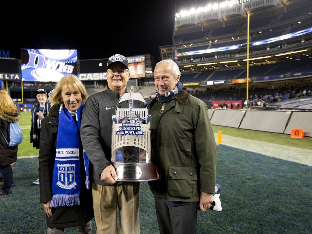 Indiana vs Duke in the New Era Pinstripe Bowl. Duke won 44-41 (OT).  Yankee Stadium in the Bronx borough of New York, NY. December 26, 2015.  (Jon Gardiner/Duke Photography)