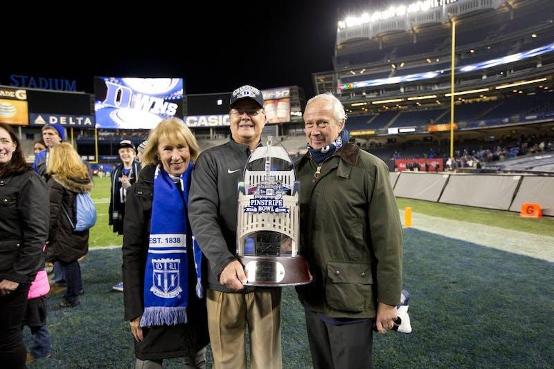 Indiana vs Duke in the New Era Pinstripe Bowl. Duke won 44-41 (OT).  Yankee Stadium in the Bronx borough of New York, NY. December 26, 2015.  (Jon Gardiner/Duke Photography)