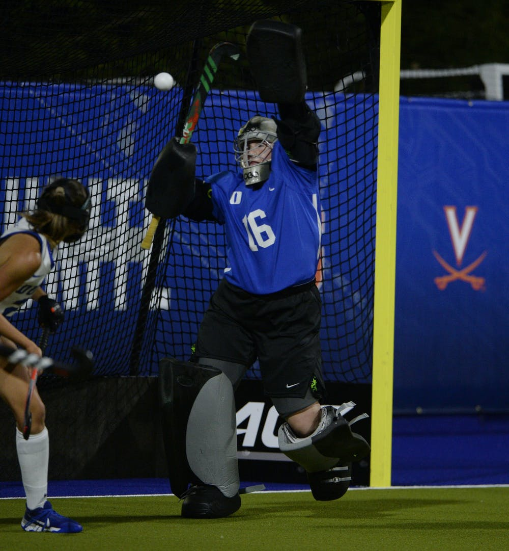 <p>Goalie Piper Hampsch's nine saves over two games demonstrate the defensive prowess Duke field hockey will need when they play Northwestern this Friday.&nbsp;</p>
