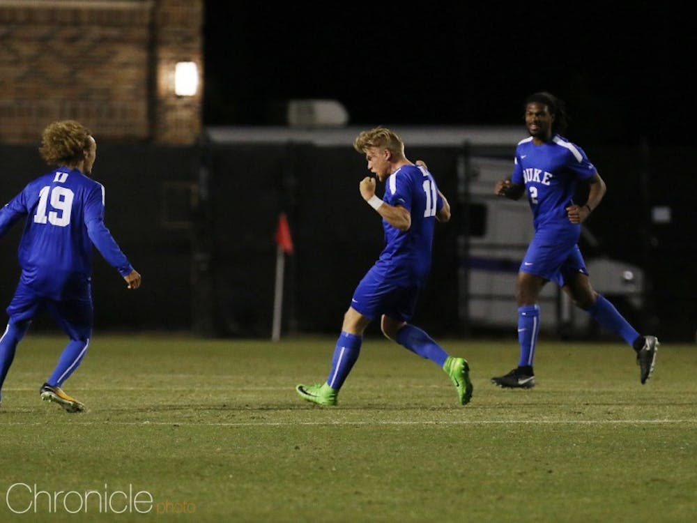 Max Moser scored Duke's second goal, in the 15th minute Friday.
