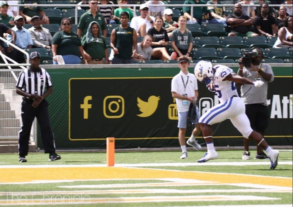 <p>Deon Jackson got the Blue Devils on the board to kick off a 23-point first half Saturday afternoon.</p>