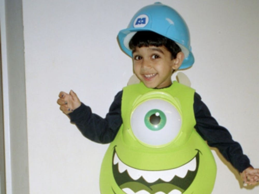 """Mehta as a child dressed as Mike Wazowski from """"Monsters Inc."""" Photo courtesy of Pooja Mehta."""