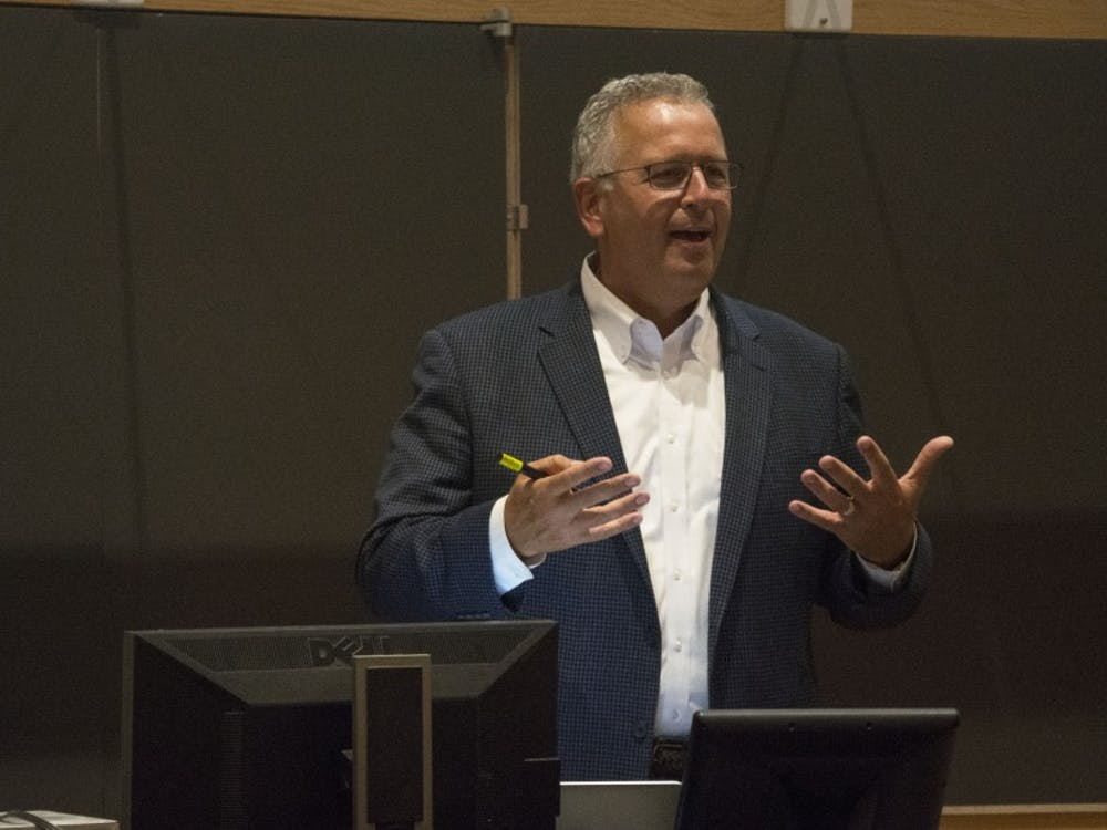 Chemist Joseph DeSimone discussed diversity in scientific pursuits at the Levine Science Research Center Tuesday.