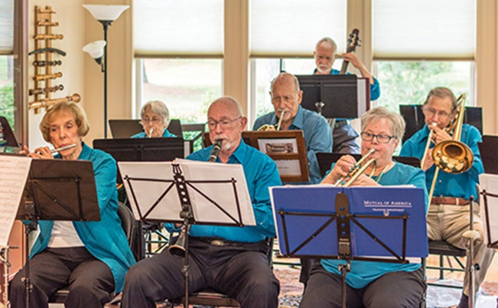 <p>Kathy and Lex Silbiger used to bring music to the Duke community and now coordinate a band of retirement community residents.</p>