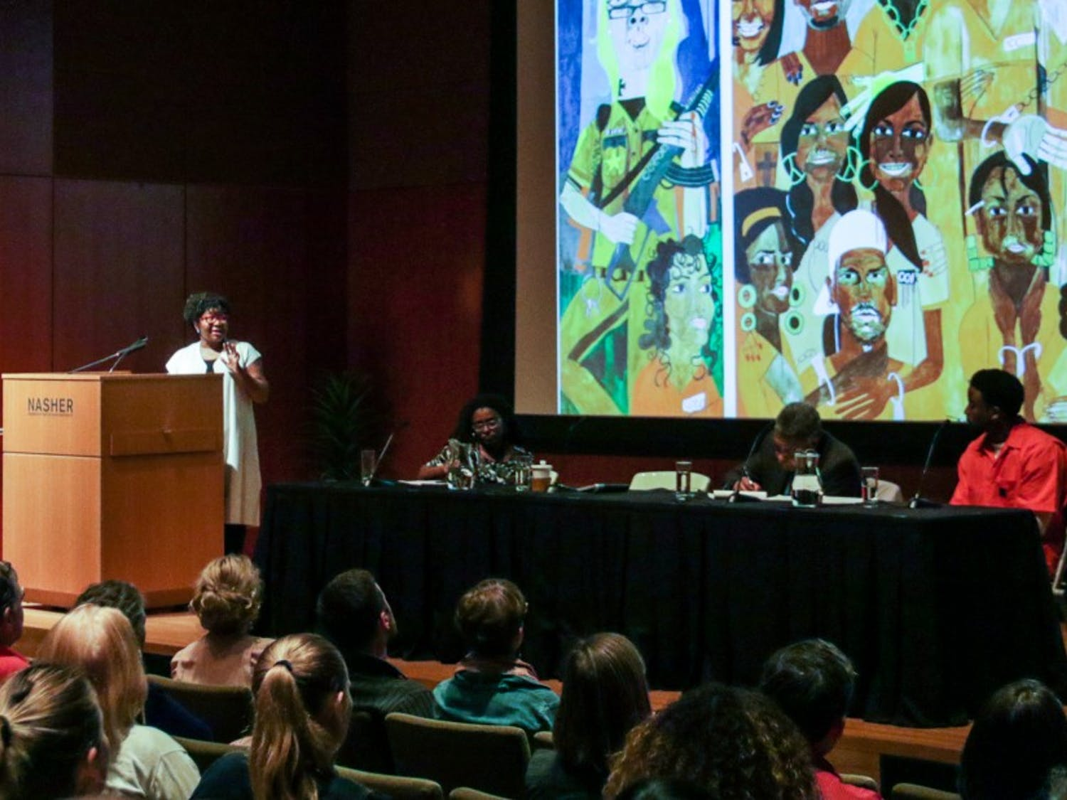 """The event focused on the Nasher exhibit""""Nina Chanel Abney: Royal Flush"""" and how Abney's work highlightsissues of racial justice."""