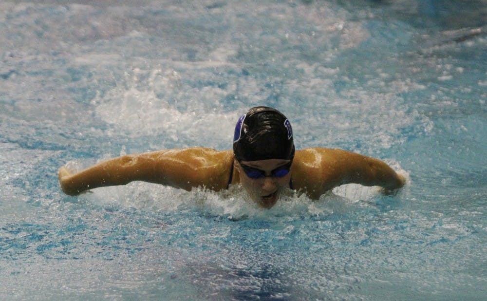 The Blue Devil women's swimming squad will face three schools with undefeated duel meet records in conference.