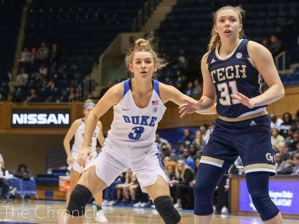 <p>Miela Goodchild's shooting from deep helped the Blue Devils space the floor and ultimately defeat the Yellow Jackets.</p>
