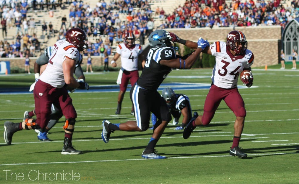 <p>Travon McMillian leads a deep Hokie backfield that features seven players with at least 100 rushing yards this season.</p>