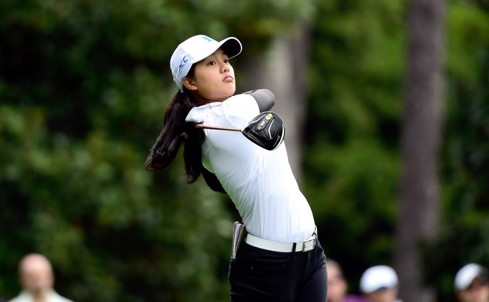 <p>Jaravee Boonchant of Thailand hits her tee shot on hole No. 2 during the final round of the Augusta National Women's Amateur, Saturday, April 6, 2019.</p>