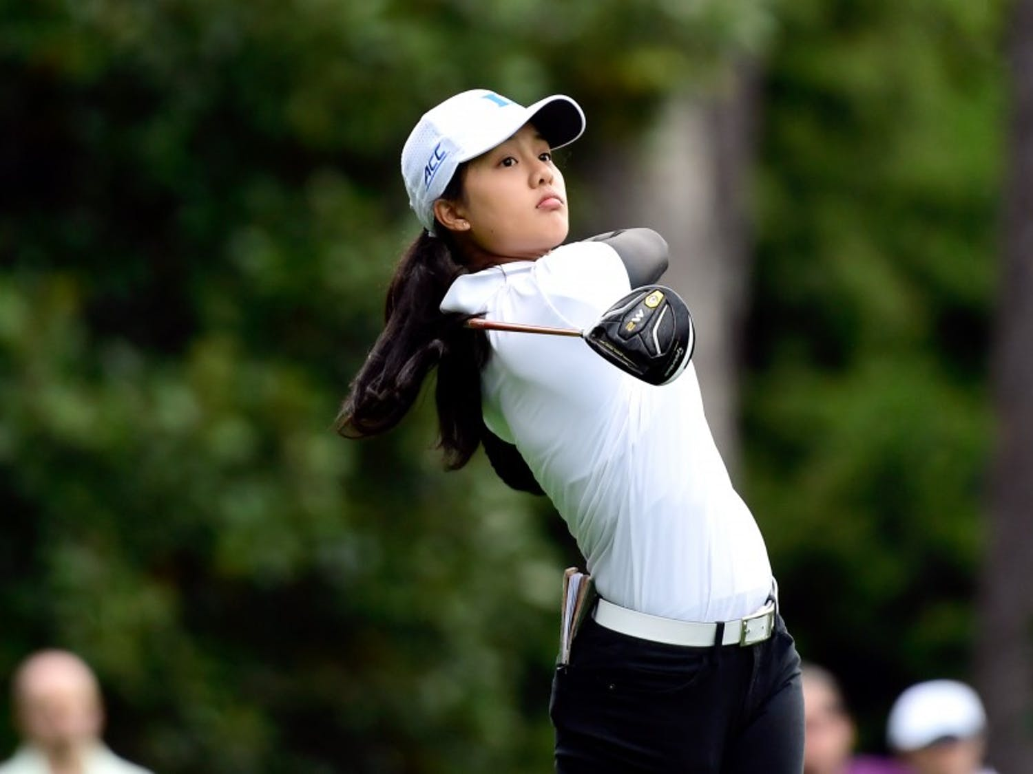 Jaravee Boonchant of Thailand hits her tee shot on hole No. 2 during the final round of the Augusta National Women's Amateur, Saturday, April 6, 2019.