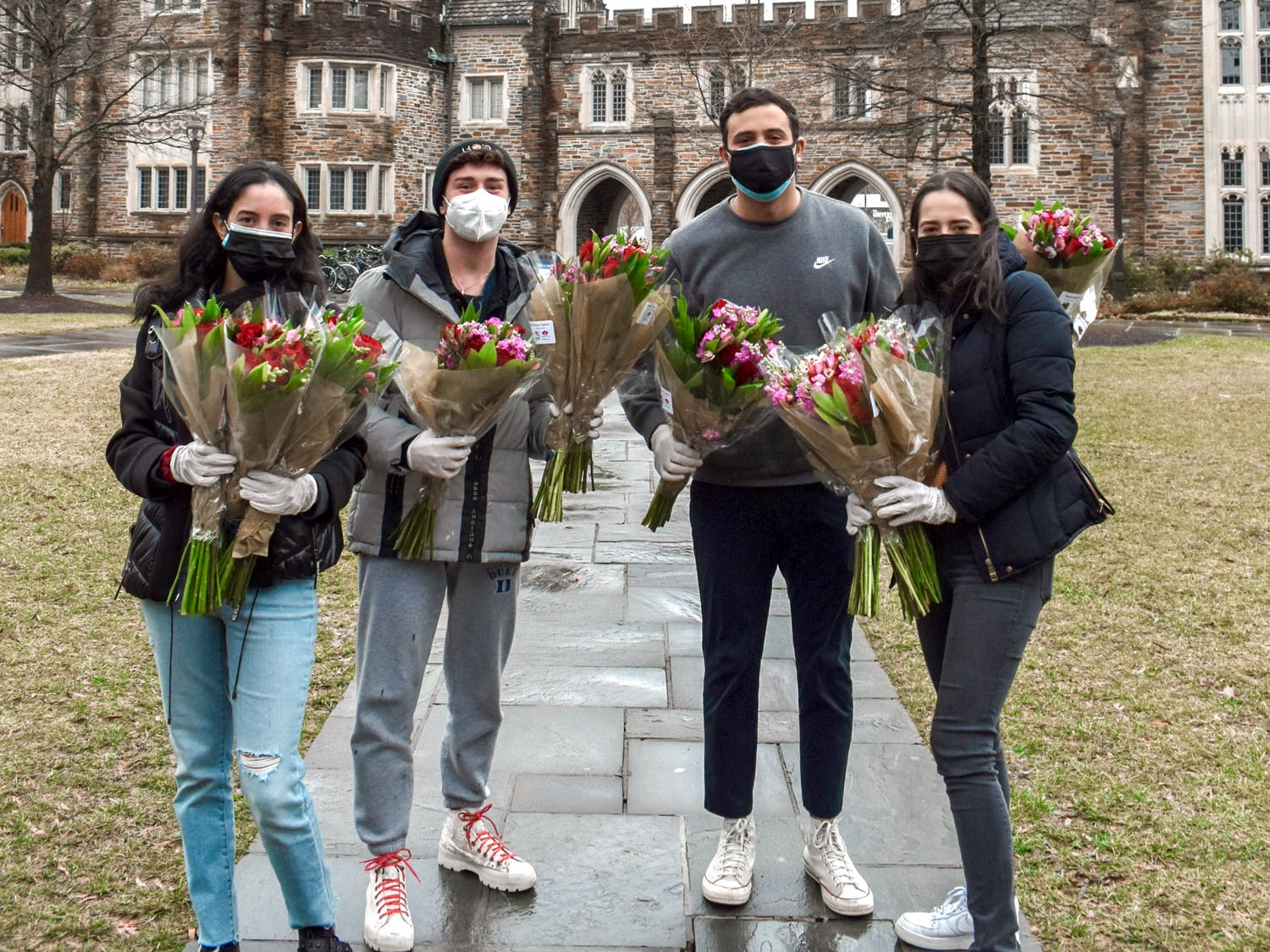 On February 19th, Duke LASO (Latin American Student Organization) had their annual Valentine's Day giveaway event, despite the winter storm that same morning. The flowers were delivered all the way from Colombia, donated by Flores El Trigal and Queen's Flowers. The event was coordinated by Natalia Mesa, a Duke and LASO alum from the Class of 2020. LASO distributed the bouquets through West Union, East and West bus stops, Pitchforks, security locations, Perkins Library, The Loop, and the East Campus Marketplace. Amidst all the recent changes and the ongoing pandemic, LASO was able to show Duke and Healthcare workers how much their dedication, care, and courage was appreciated.