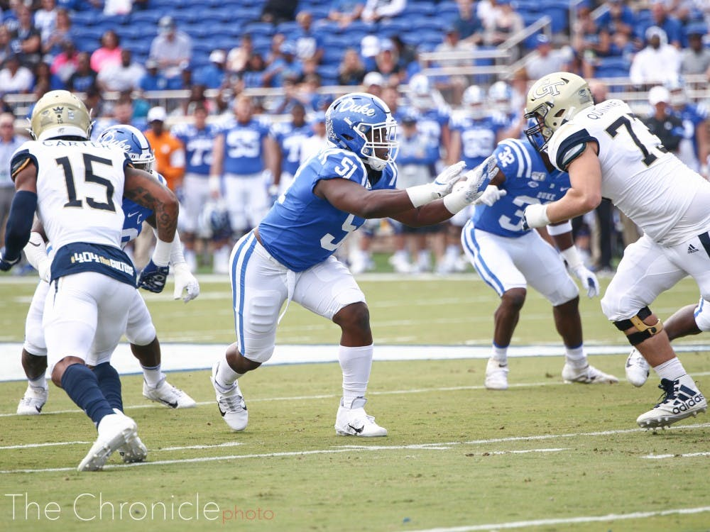 Victor Dimukeje anchors the Duke pass rush with 6.5 sacks this year.