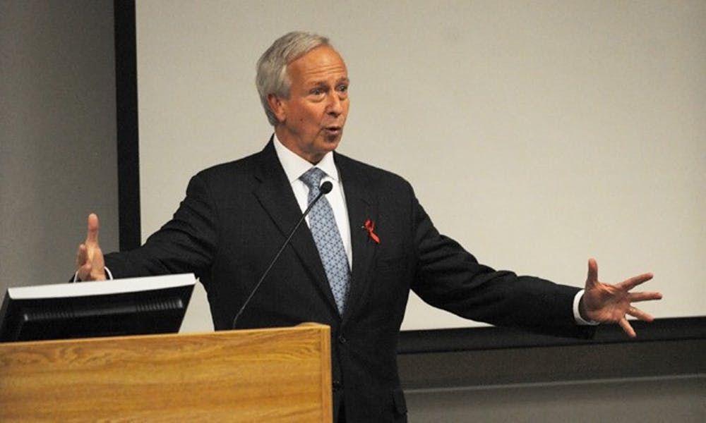 Duke President Richard Brodhead presents a Duke Kunshan University degree program Thursday to the Academic Council.