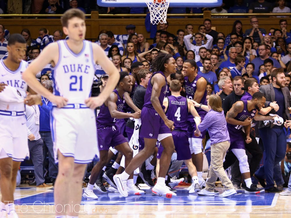 The Lumberjacks were the one celebrating in Cameron Indoor Stadium Tuesday.