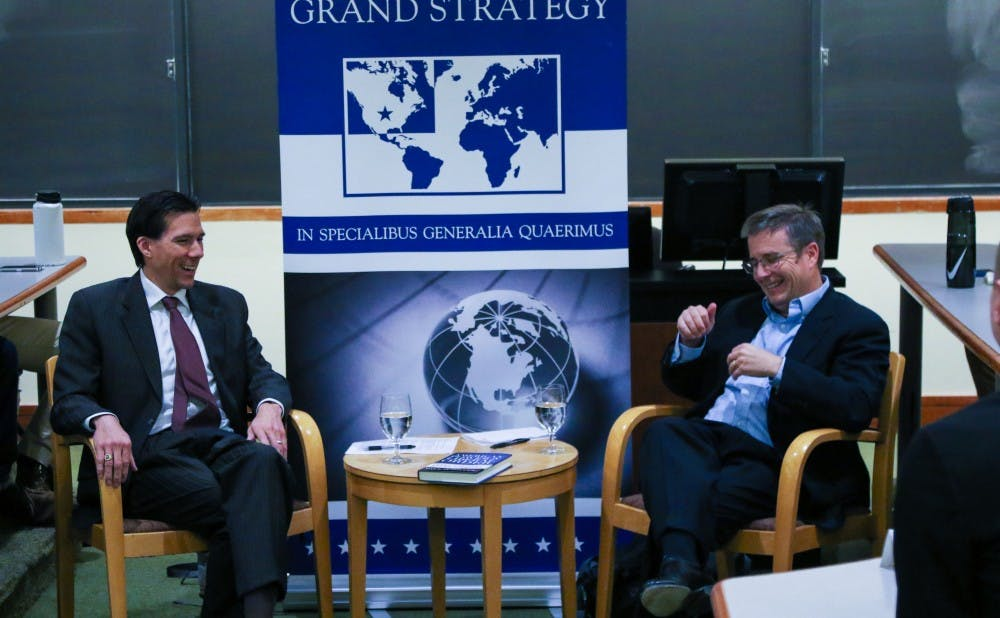 <p>Paul Miller, former Director for Afghanistan and Pakistan on the National Security Council, spoke at the Sanford School of Public Policy Wednesday night.&nbsp;</p>