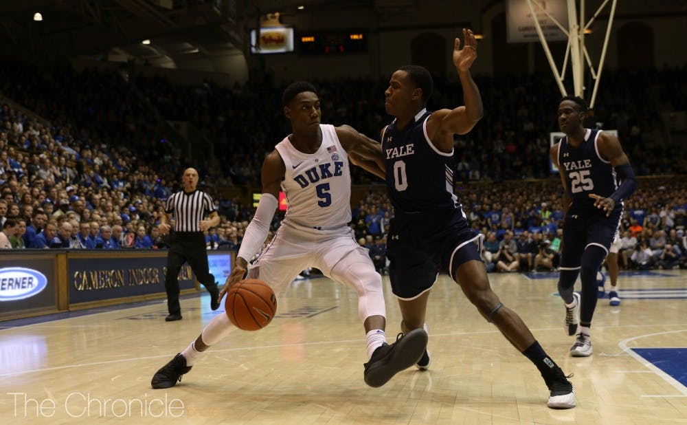 <p>R.J. Barrett and the Blue Devils' first-half shooting struggles continued Tuesday.</p>