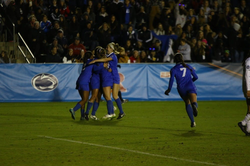 <p>Duke women's soccer celebrated its Final Four win against Florida State&nbsp;last year in Cary, N.C. If the Blue Devils get back to the Final Four, they will have to travel out of state because of the NCAA's decision to move several championship events.</p>