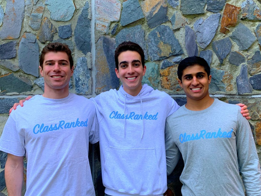The founders of ClassRanked. From left to right: Max Labaton, Hayden Hall, Dilan Trivedi