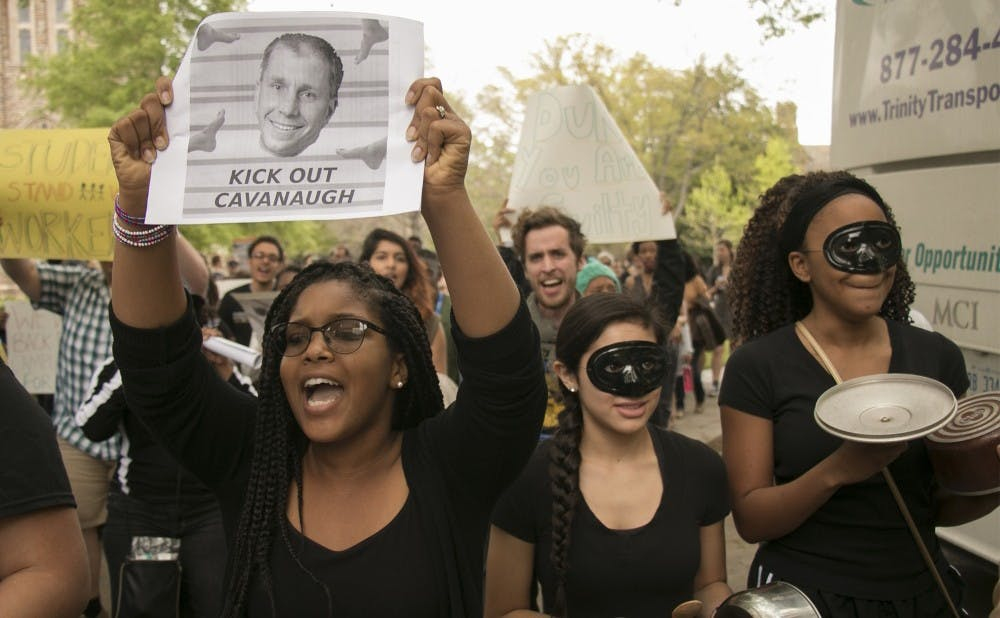<p>Students have been protesting outside the Allen Building since Friday afternoon.</p>