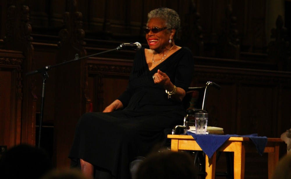 Maya Angelou speaks at Duke Chapel in 2013.