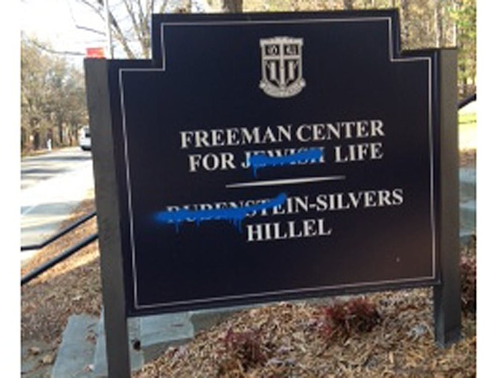 Vandalism was found on a sign outside the Freeman Center for Jewish Life Monday morning. It has since been removed.