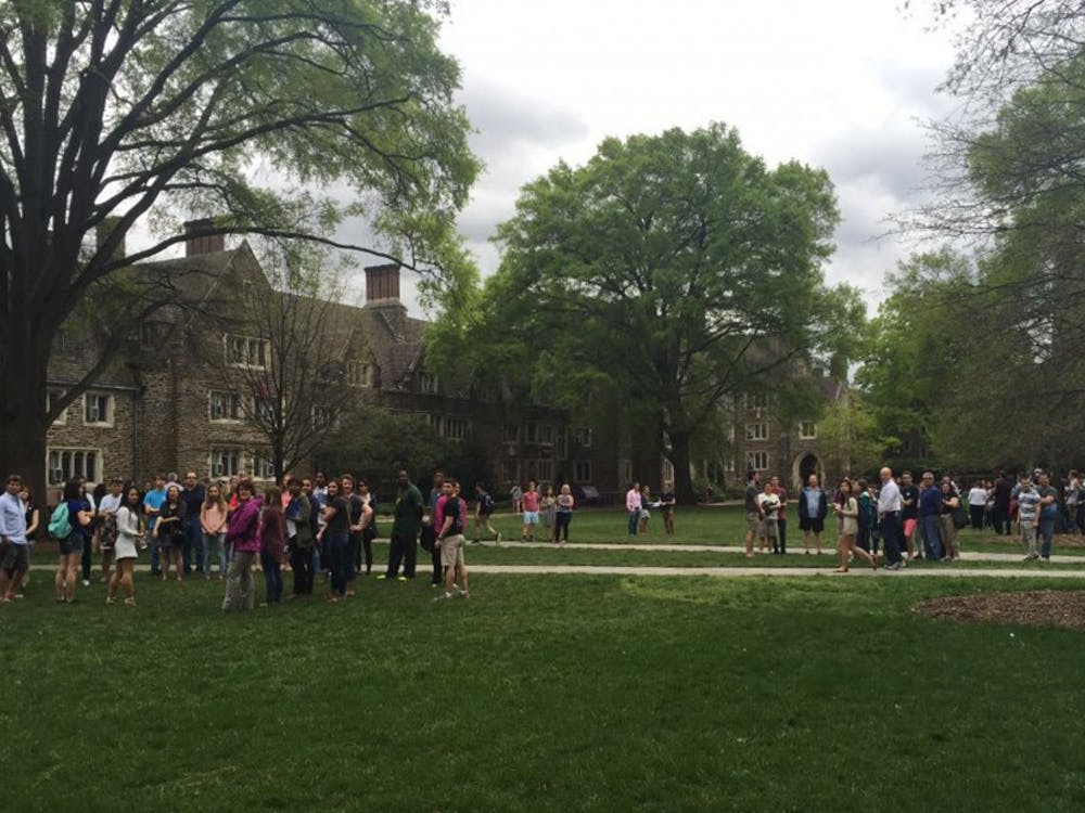 Admission tour groups watch lastFriday's protest on West Campus. Several tours will be given Thursday and Friday as part of Blue Devil Days.