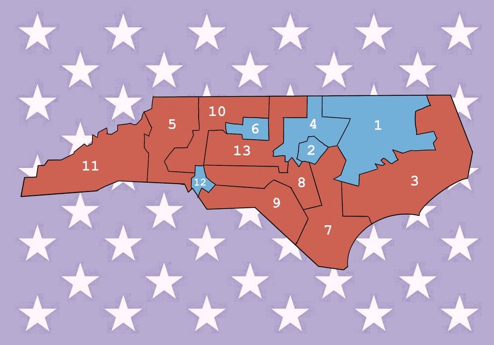 Republicans won eight of North Carolina's 13 House Districts.