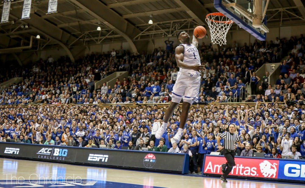 <p>Zion Williamson continued to ignite the Crazies with numerous monstrous dunks Tuesday.&nbsp;</p>