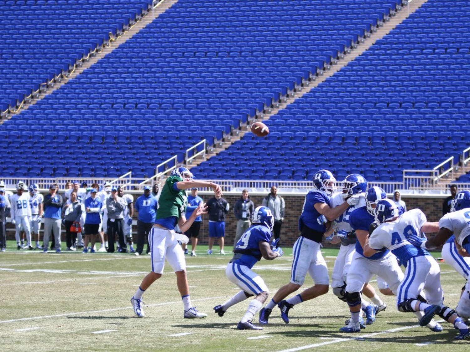 Redshirt freshman quarterback Daniel Jones connected with wide receiver Chris Taylor from eight yards out for a touchdown during Saturday's scrimmage.