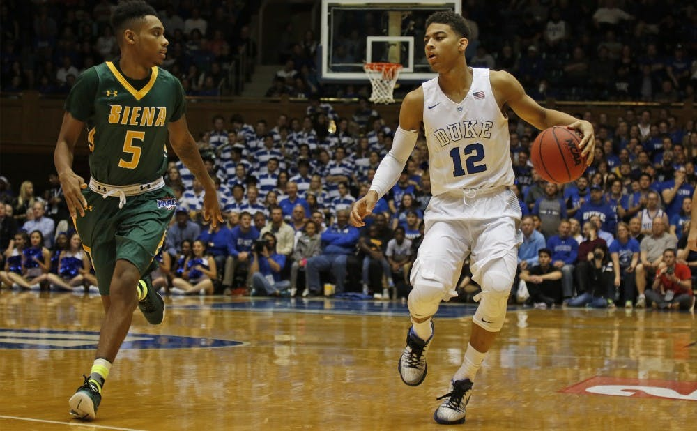 <p>Guard Derryck Thornton played a prominent role for the Blue Devils this season, but opted to transfer with an eye on playing closer to home.</p>