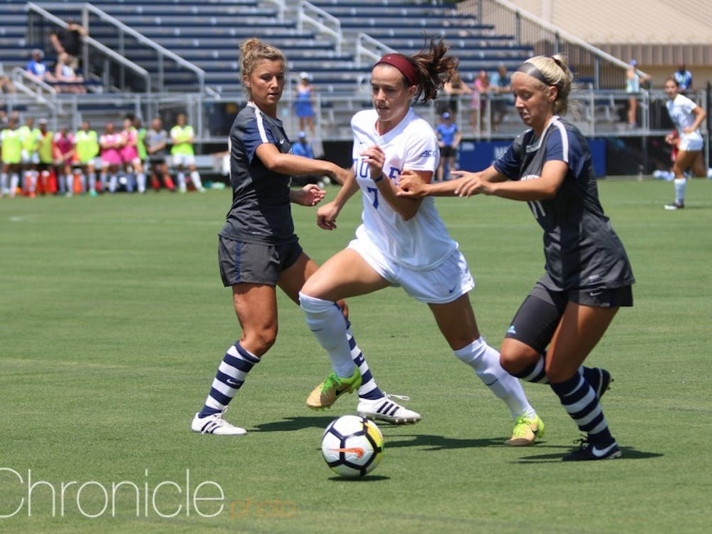 Taylor Racioppi scored in both of Duke's games to open the 2018 campaign, but the Blue Devils couldn't follow up Thursday's win with another victory Sunday.