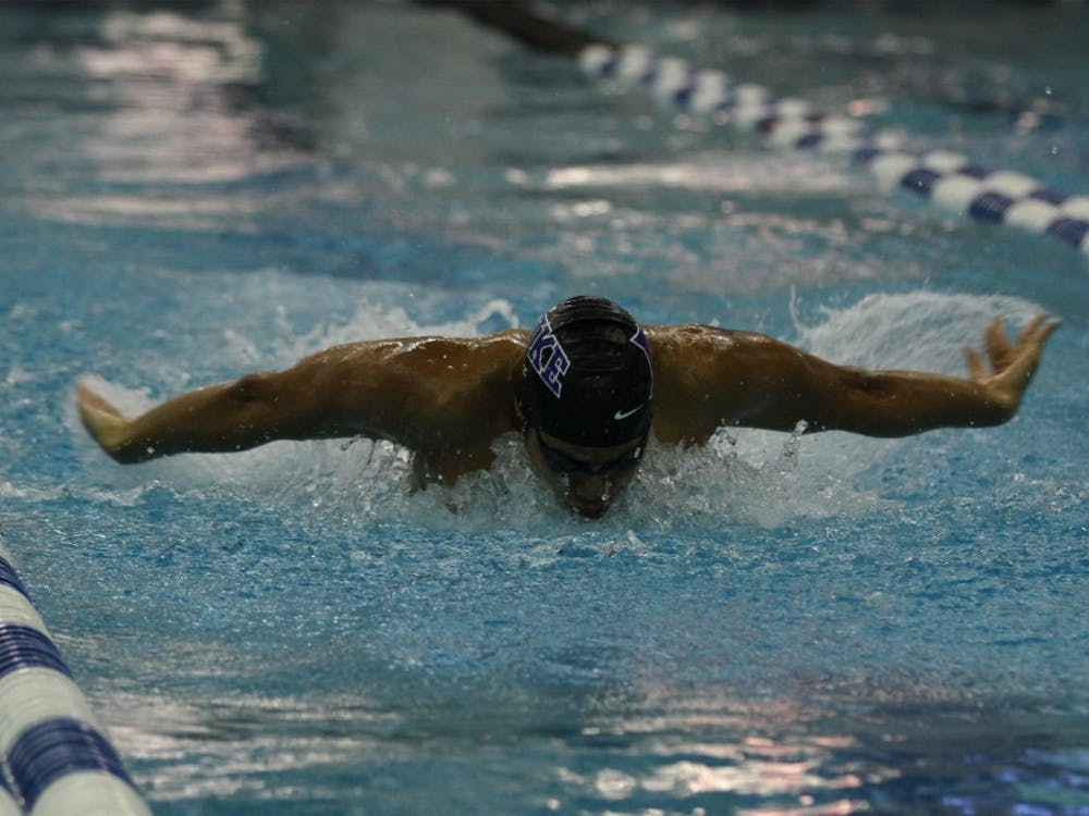 The Blue Devils finished 15th in the preliminary heats to earn a spot in the final, but were disqualified after leaving early from the blocks.