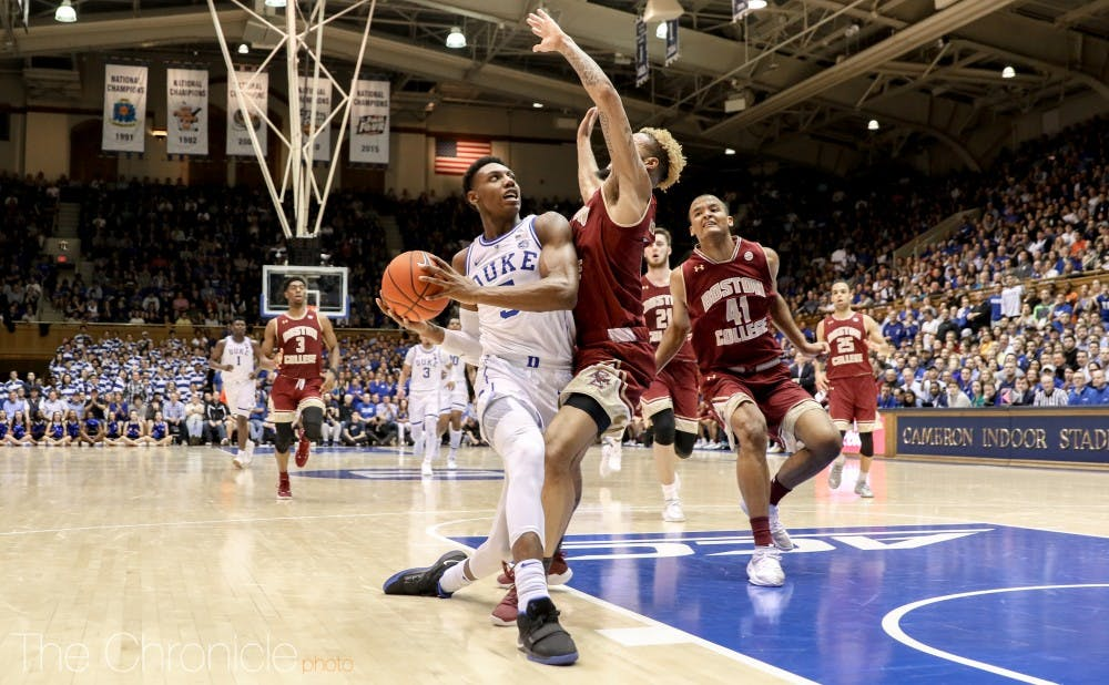 <p>R.J. Barrett and the Blue Devils started just 1-for-15 from downtown.</p>