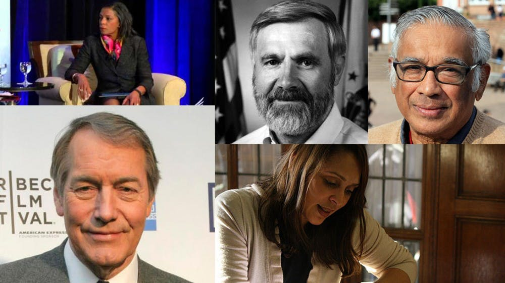 <p>Five will receive honorary degrees at this year's commencement ceremony (from top left to bottom left clockwise)&mdash;Risa Lavizzo-Mourey, president and CEO of the Robert Wood Johnson Foundation;&nbsp;epidemiologist and global health pioneer Dr. William Foege;&nbsp;mathematician Srinivasa Varadhan;&nbsp;former U.S. Poet Laureate Natasha Trethewey; and&nbsp;journalist and TV talk show host Charlie Rose, Trinity '64 and Law '68.</p>
