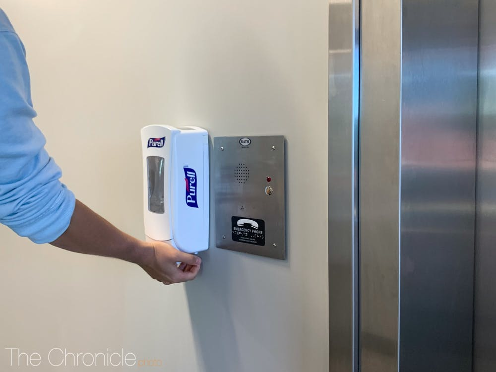 <p>Duke has increased the number of hand sanitizer dispensers on campus from 1,000 to 1,700.</p>