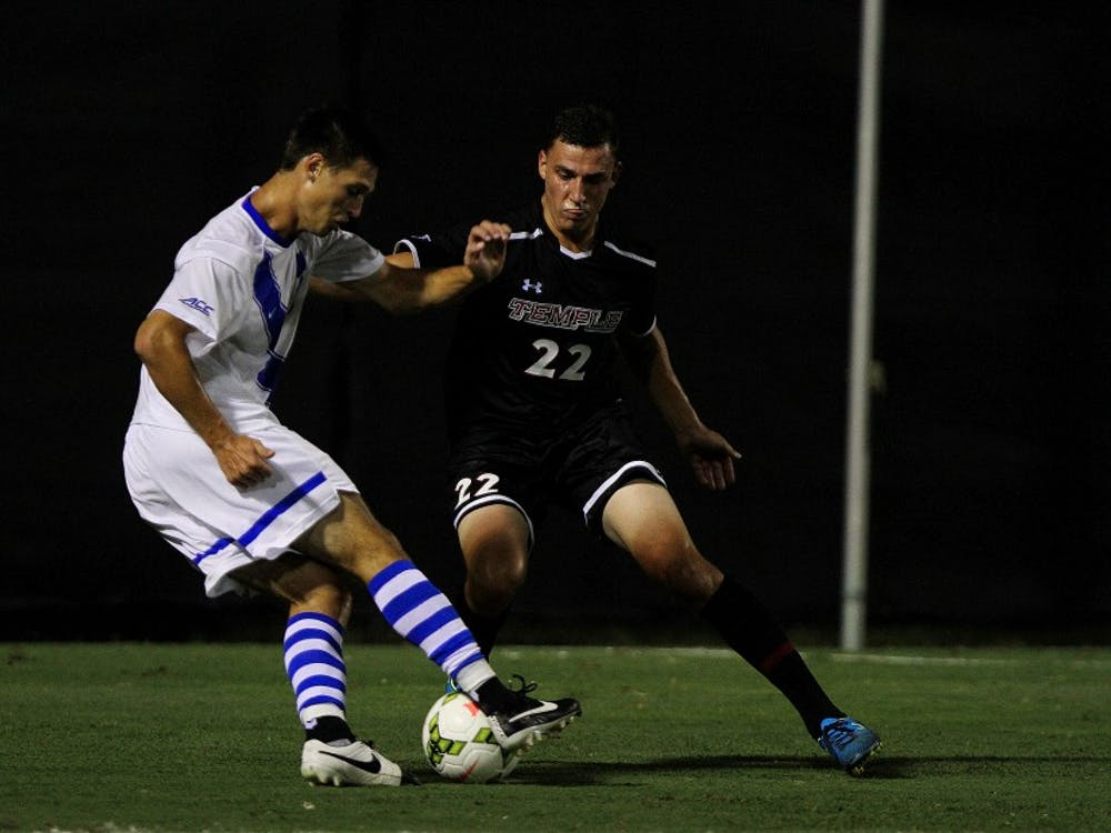 Sophomore Brody Huitema and the Blue Devil offense could not find the back of the net against Louisville Friday.