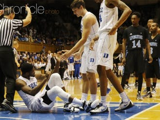 Senior Amile Jefferson left Duke's second exhibition game after just a few minutes of action after turning his ankle.