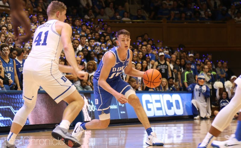 Alex O'Connell rocks one of his more tame hairstyles since coming to Duke here.