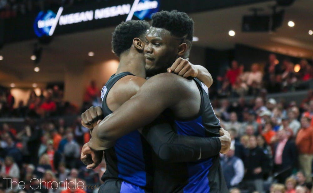 <p>Barrett and Williamson's friendship was put on display at the 2019 NBA Draft, as they embraced each other in the same fashion as above, after Barrett was selected by the Knicks and Williamson the Pelicans.</p>