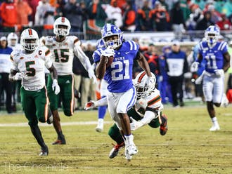 Backup running back Mataeo Durant provided the biggest spark to the Blue Devil offense with a 49-yard touchdown in the first quarter.