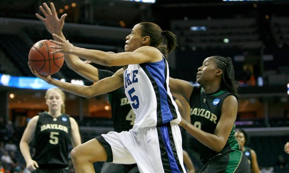 Due in part to a swarming Baylor defense, junior guard Jasmine Thomas shot poorly in Duke's loss, finishing 4-for-18 from the field for 16 points.