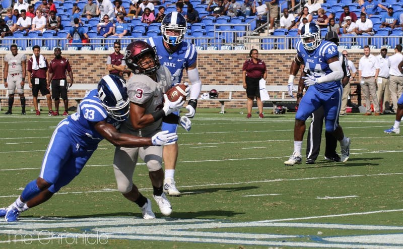Although the Blue Devils were dominant throughout the contest, Duke gave up a pair of touchdowns due to errors on both ends of the ball.