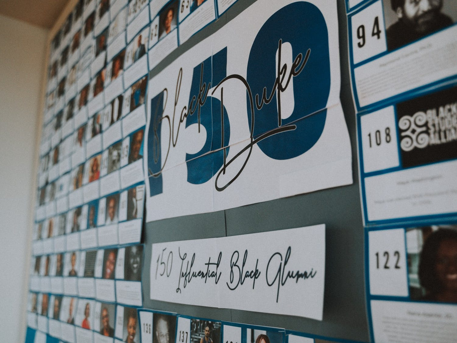 A display board with 150 influential Black Duke Alumni can be found on the first floor of the Flowers Building.