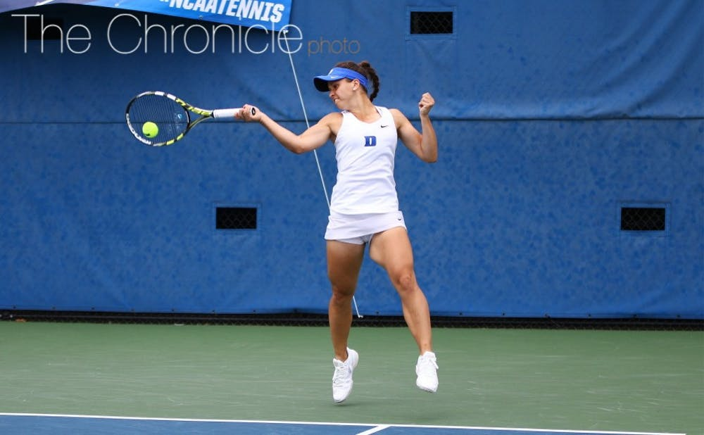 <p>Junior Samantha Harris ended a five-match losing streak at No. 1 singles with an upset win Wednesday, propelling the Blue Devils to a much-needed victory.&nbsp;</p>