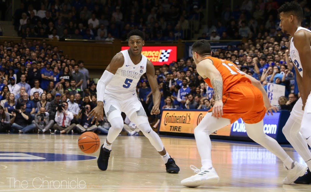 <p>R.J. Barrett's all-around excellent play allowed Duke to control the game from the tip and rout Miami.</p>