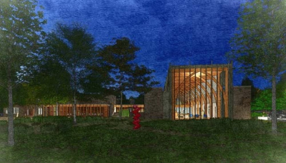 <p>The new alumni center, located on Chapel Drive,&nbsp;will feature meeting rooms and events spaces.&nbsp;</p>