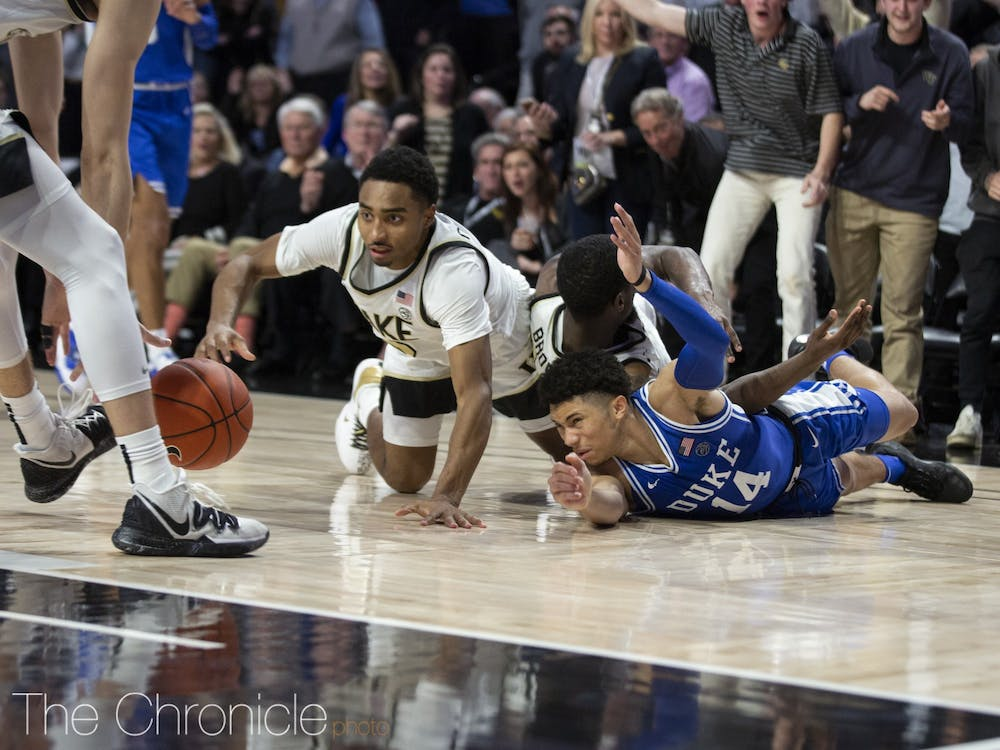 Duke fell behind by 12 points in the first half against Wake Forest Tuesday night.