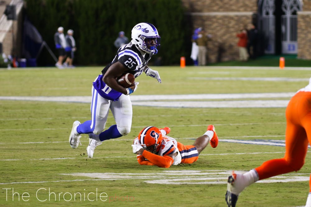 <p>Deon Jackson and the Duke rushing attack could not get going against the Orange's typically porous rushing defense.</p>