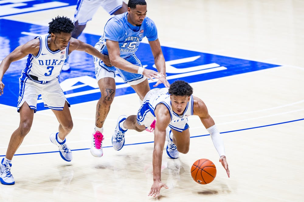 Jalen Johnson missed the Blue Devils' first matchup with Notre Dame while recovering from a foot injury.
