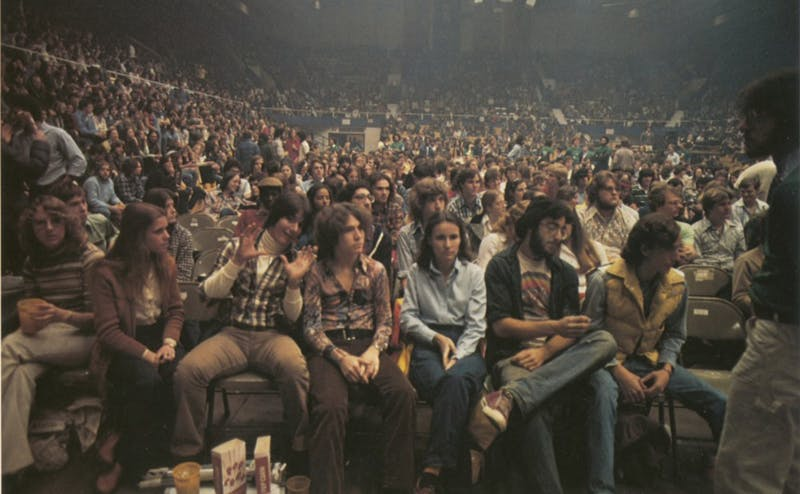 Students await a concert in Cameron Indoor Stadium, April 12, 1978. The last concert hosted in Cameron was in 2010.